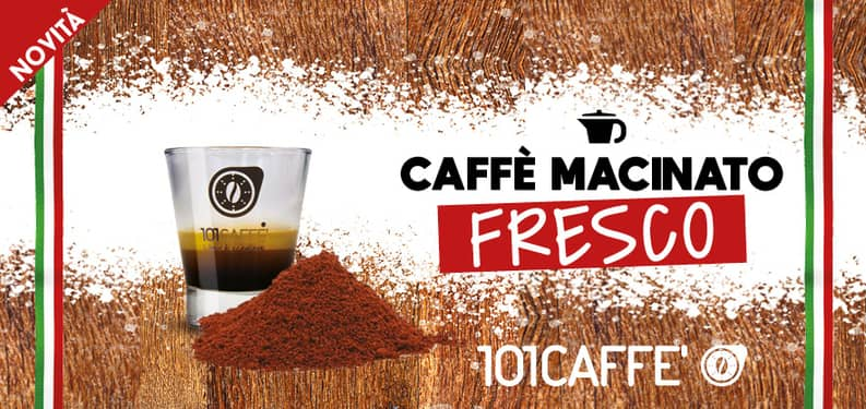 Coffee for moka in 101CAFFE' stores is freshly ground