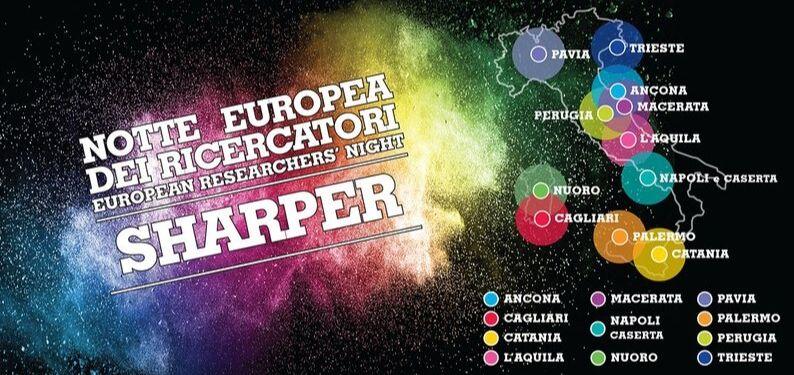 """""""Europäische Nacht der Forscher"""" (it. """"notte europea dei ricercatori"""") im Rahmen des Projekts Sharper mit 101CAFFE' in Pavia"""