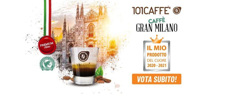 """Caffè Gran Milano della linea Premium 101CAFFE' candidato a """"Il Mio Prodotto del Cuore 2020-2021"""""""