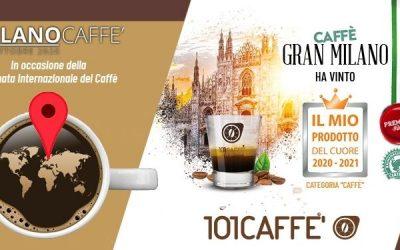 """101CAFFE' vince il premio """"Il Mio Prodotto del cuore 2020-2021"""" con caffè Gran Milano"""