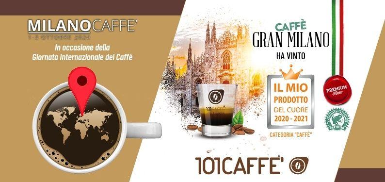 """101CAFFE' gewinnt den Preis """"Il Mio Prodotto del Cuore 2020-2021"""" (ital. Mein Lieblingsprodukt 2020-2021) mit Kaffee Gran Milano"""