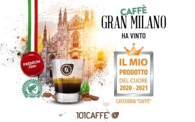 """Comunicato Stampa – 101CAFFE' vince il premio """"Il Mio Prodotto del cuore 2020-2021"""" con caffè Gran Milano"""