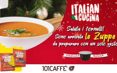 """101CAFFE' delicious soups in capsules from the """"Italian Cucina"""" range: ready in a few seconds with your coffee maker!"""