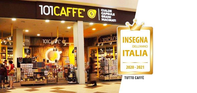 """Insegna dell'Anno Italia 2020-2021 (Wahrzeichen Italiens 2020- 2021): 101CAFFE' gewinnt in der Kategorie """"Kaffee"""""""