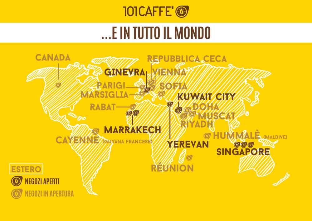 Negozi Franchising 101CAFFE' Italia cialde capsule grani macinato macchine da caffè bevande porzionate