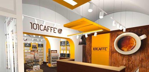 render di un negozio 101 CAFFE' in Franchising