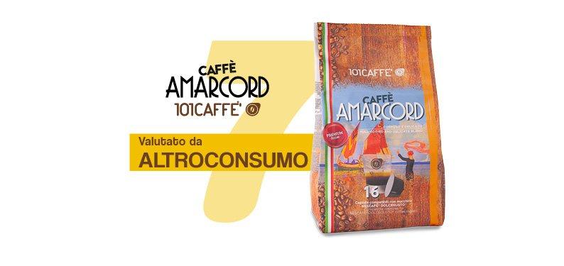 La classifica di ALTROCONSUMO: su 33 marche di capsule di caffè testate, AMARCORD di 101CAFFE' è al settimo posto per qualità