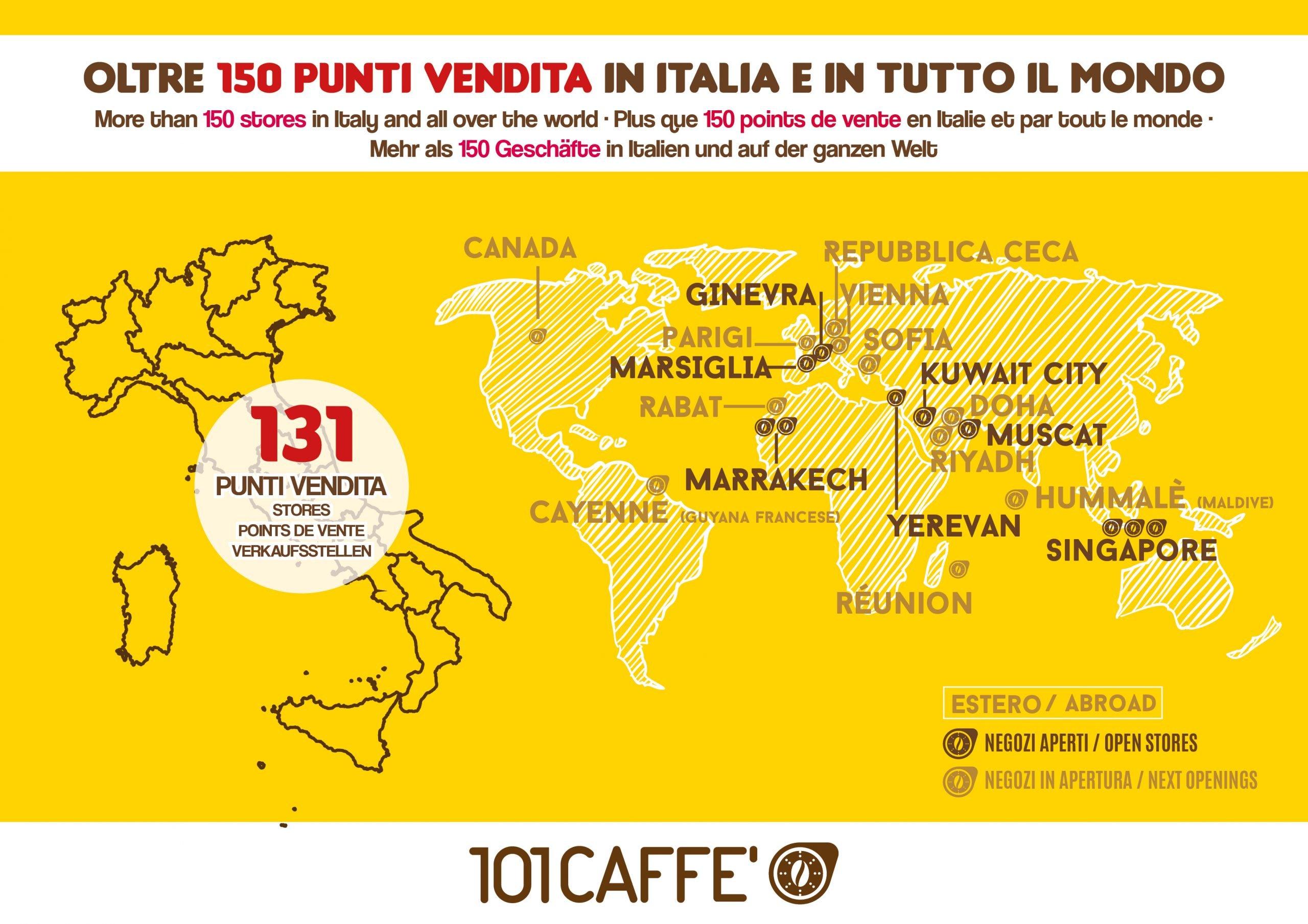 101 CAFFE' la più grande catena di negozi in Franchising di caffè e bevande per tutte le macchine
